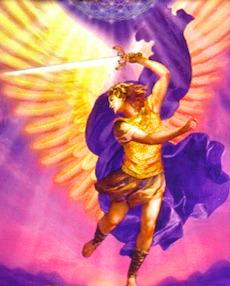 imagem arcanjo miguel com asas armadura e espada